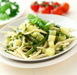 Trofiette pasta with potatoes, runner beans and pesto sauce