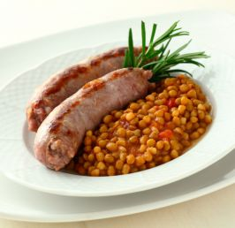 Sausage with lentils and rosemary