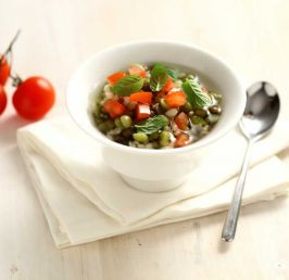 Light Soup with diced tomatoes marinated in mint